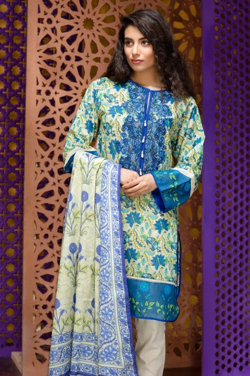Khaadi Eid Lawn Collection Unstitched 2 Piece Suit M16306 A in Beige. #LawnCollection #EidCollection2016