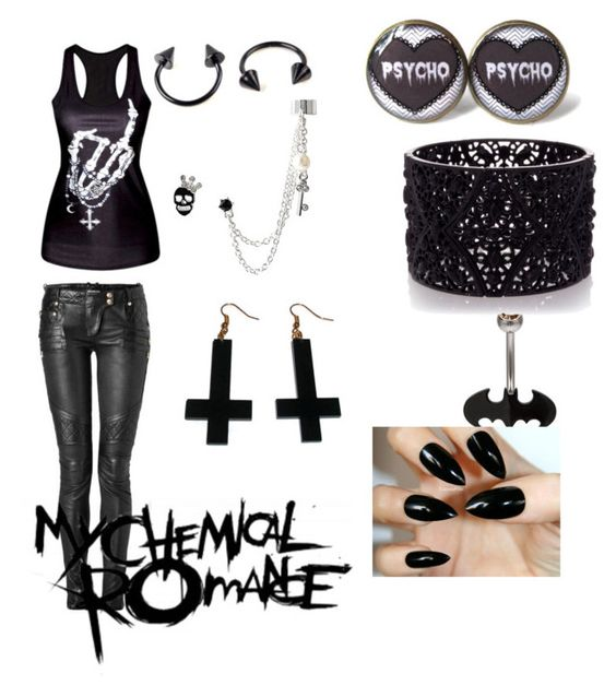 """Emo Queen"" by alysebnai on Polyvore featuring Chicnova Fashion, Betsey Johnson, Balmain and Oasis"