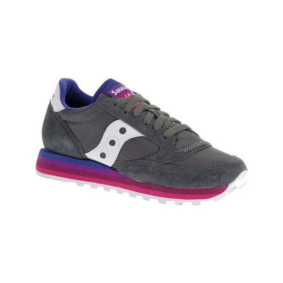 Women's Saucony Jazz Original Rainbow Sneaker - Charcoal/Purple... ($49) ❤ liked on Polyvore featuring shoes, sneakers, saucony trainers, retro sneakers, saucony footwear, rainbow sneakers and rainbow shoes