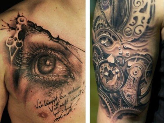 brust tattoo f r m nner auge realistisch oberarm maschinen teile tattoo pinterest tattoos. Black Bedroom Furniture Sets. Home Design Ideas