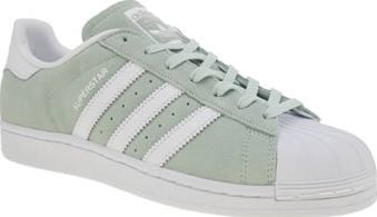 Adidas Light Green Superstar Womens Trainers What girl doesnt enjoy a pastel hue in their wardrobe? The adidas Superstar arrives in light green suede, featuring snakeskin embossed 3-Stripe branding for some on-trend feminine points. Iconic rubbe http://www.comparestoreprices.co.uk/january-2017-8/adidas-light-green-superstar-womens-trainers.asp:
