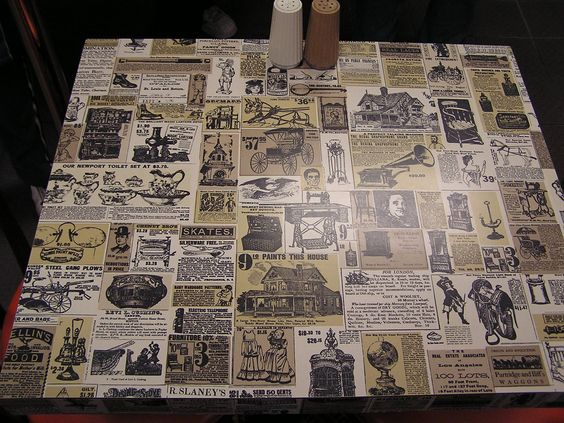 the old Wendy's newspaper tables