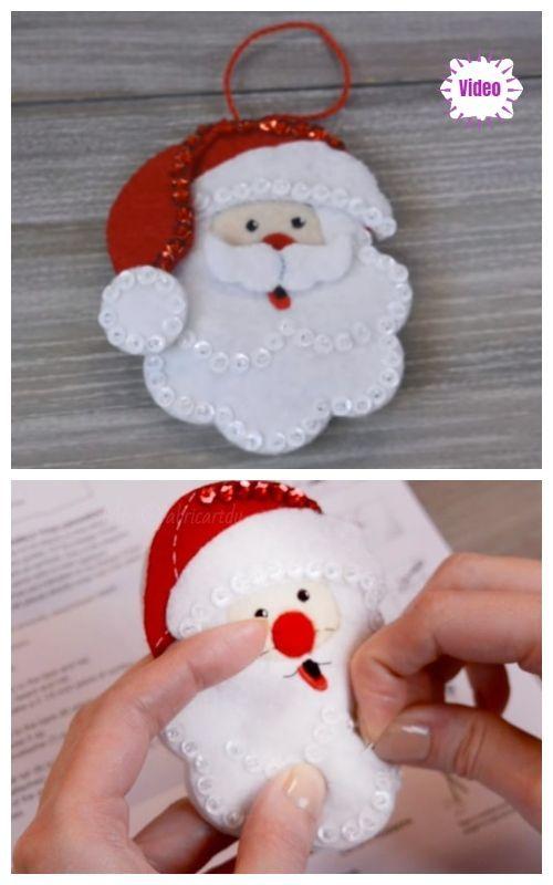Christmas Craft Diy Felt Santa Clause Ornament Free Sew Patterns