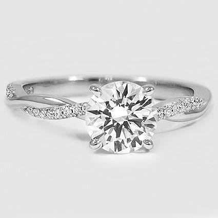 Platinum Petite Twisted Vine Diamond Ring // Set with a 1.29 Carat, Round, Ideal Cut, G Color, VS1 Clarity Lab Diamond #BrilliantEarth
