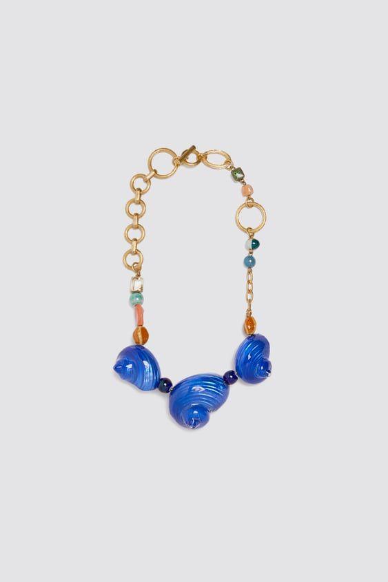 Bordado Flor Floral Azul Bohemio Hippy Boho Gargantilla collar zara
