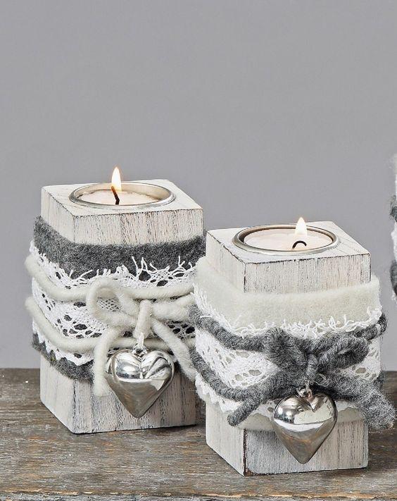 teelichthalter shabby filz herz landhaus holz grau wei. Black Bedroom Furniture Sets. Home Design Ideas