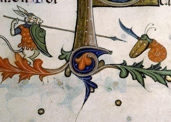donkey warrior vs. killer snail Pontifical of Guillaume Durand, Avignon, before 1390 Paris, Bibliothèque Sainte-Geneviève, ms. 143, fol. 179v: