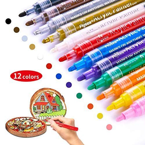 Sutoroo Paint Pens For Rock Painting Stone Ceramic Glass Wood Fabric Canvas Mugs Card 2 Mm Fast Drying Diy C In 2020 Paint Pens For Rocks Paint Marker Pen Paint Marker