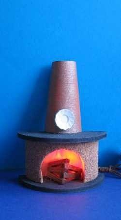Kamin halbrund mit Rauchfang für ein gemütliches  Puppenhaus Wohnzimmer