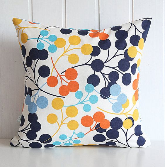 Decorative Pillows Blue And Orange : Navy Blooms Decorative Pillow Cover - Orange Yellow Aqua Blue Polka Dot - Home - 14
