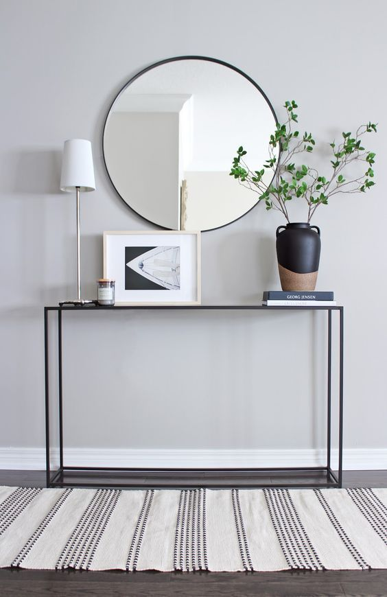 42 Minimal Entryway Decor Ideas With Round Wall Mirror Molitsy Blog Console Table Styling Entryway Table Decor Scandinavian Console Tables
