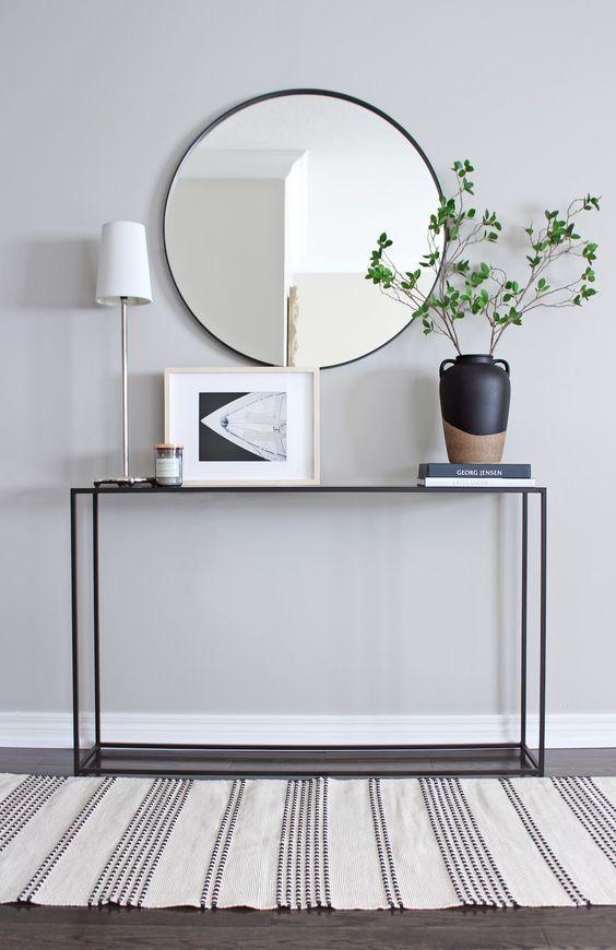 42 Minimal Entryway Decor Ideas With Round Wall Mirror Console