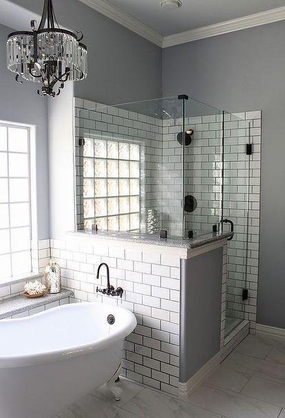 master bath remodel, bathroom ideas, home improvement, Who doesn t love a glitzy chandelier