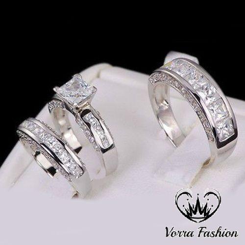 3.05 Ct Black Princess /& Round Cut Moissanite Wedding Ring Set In 925 Silver