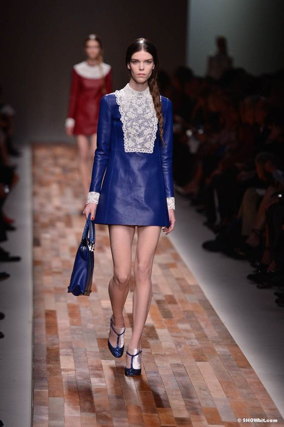 Meghan Collison at @MaisonValentino  FW/2013 Show in a blue leather dress.