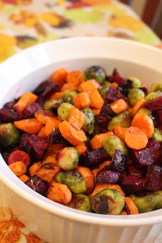 paleo - roasted brussels, beets & carrots