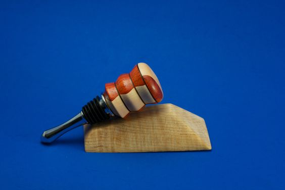 Padauk and Maple Wine Bottle Stopper - similar designs can be custom ordered at www.willsturn.com