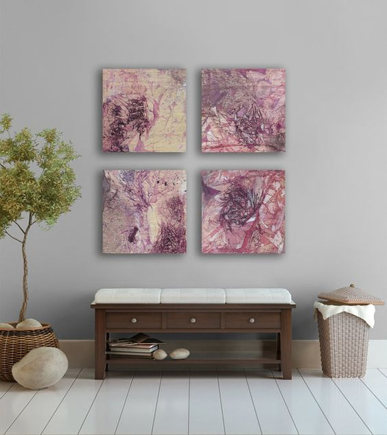 Large Purple abstract Painting, 4 square, Watercolor abstract Wall Art- Big Art-