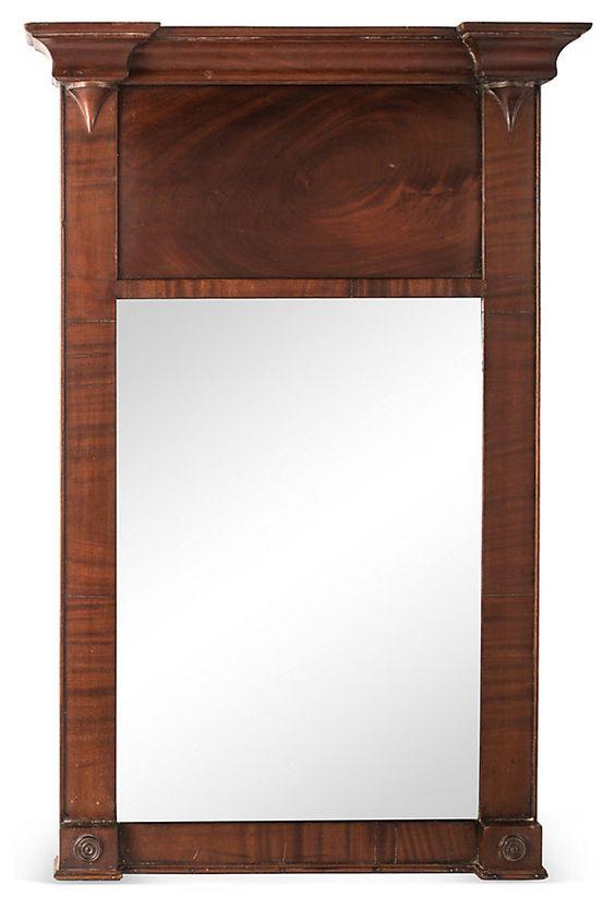 Antique Mahogany Petite Trumeau Mirror | Vintage Furniture