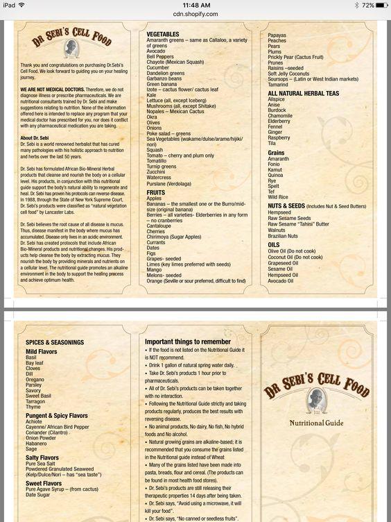 Dr. Sebi Cell Food Nutritional Guide #Alkaline #DrSebi