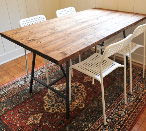 diy reclaimed wood dining table love this and the ikea adde chairs - Wooden Dining Room Chairs