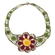 Fabric Flower Necklace : This Fabric Flower Necklace brings a twist to traditional Mayan embroidery.