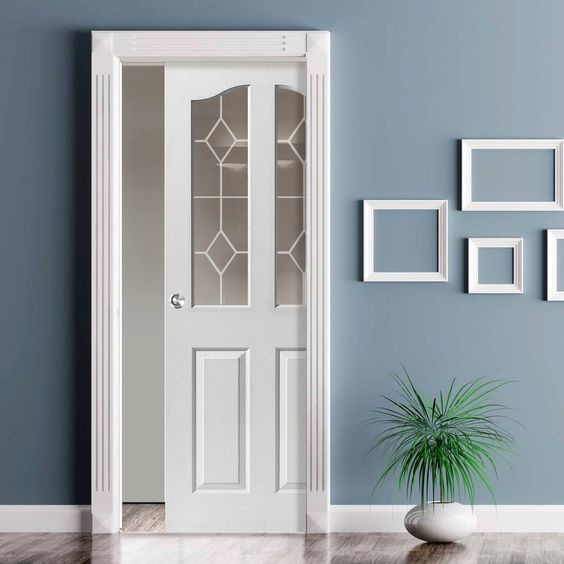 Single Pocket Edwardian 2 Light White sliding door system in three size widths with Etched Glass. #whiteglazeddoor #pocketdoor #scrignowhitepocketdoor
