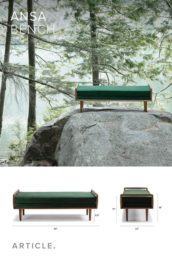 The clean lines and square figure of the Ansa bench is typical of mid-century design.