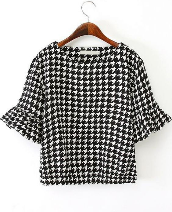 Black and White Flare Sleeve Houndstooth Print Blouse