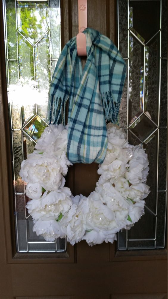 A personal favorite from my Etsy shop https://www.etsy.com/listing/289481495/peonies-flower-wreath-with-scarf-hanger