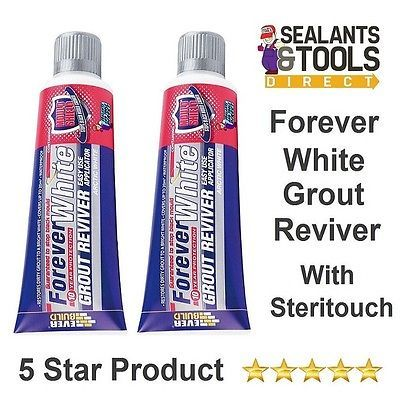 2 x Everbuild Grout WHITENER Reviver Forever White Bathroom Kitchen Cleaner Lrg