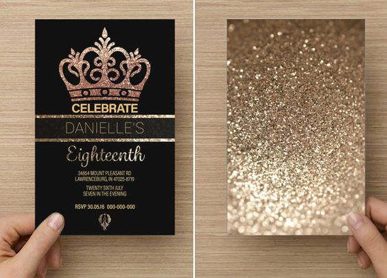Gold Glitter Crown for her Eighteenth or Twenty First Birthday 18th or 21st. Handmade professional printed invitations.