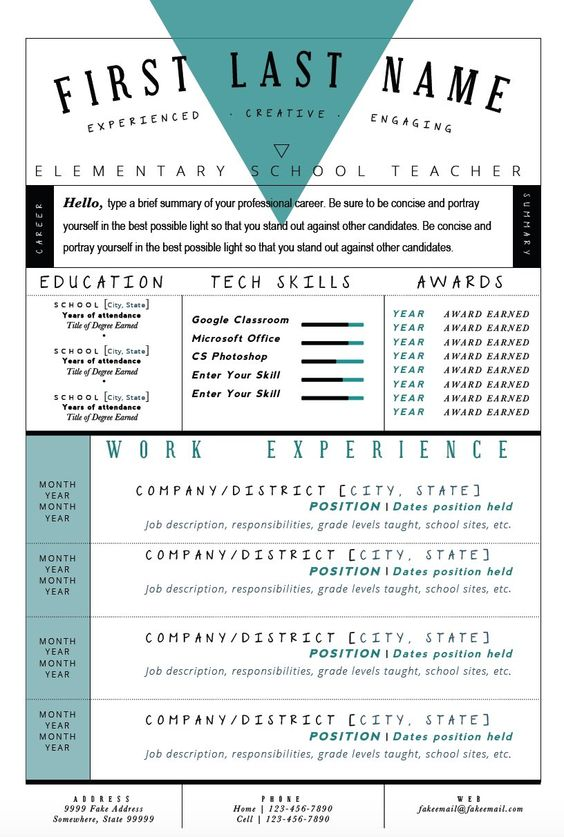 Retro Teal Resume Template Make your cover letter and resume pop - resume templates that stand out