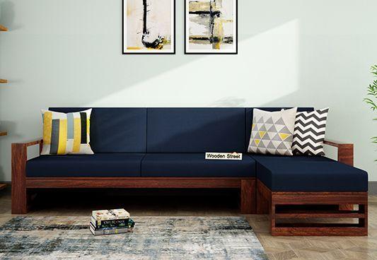 Ryker L Shape Right Arm Wooden Sofa Indigo Ink In 2020 L Shaped Sofa Designs Living Room Sofa Design Wooden Sofa Designs