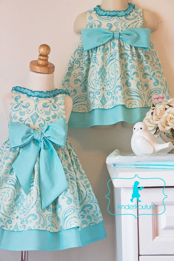 Brooke  Baby Girl Aqua and Ivory Dress  Sizes NB5 by KinderKouture, $55.00