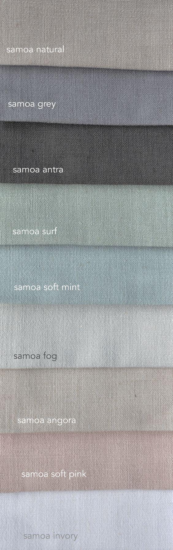 Samoa is een mooie stof met linnen. Daardoor ziet ie er mooi natuurlijk met alle praktische voordelen van polyester. Verkrijgbaar in vele kleuren. En supervoordelig €17,50 per meter!