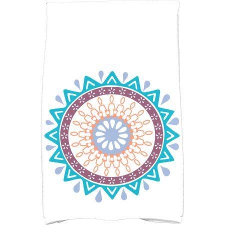 Simply Daisy 16 inch x 25 inch Mod Geometric Print Kitchen Towel, Blue