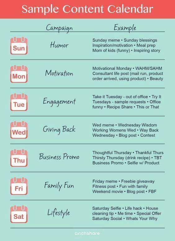 Sample Content Calendar Marketing Strategy Social Media Social