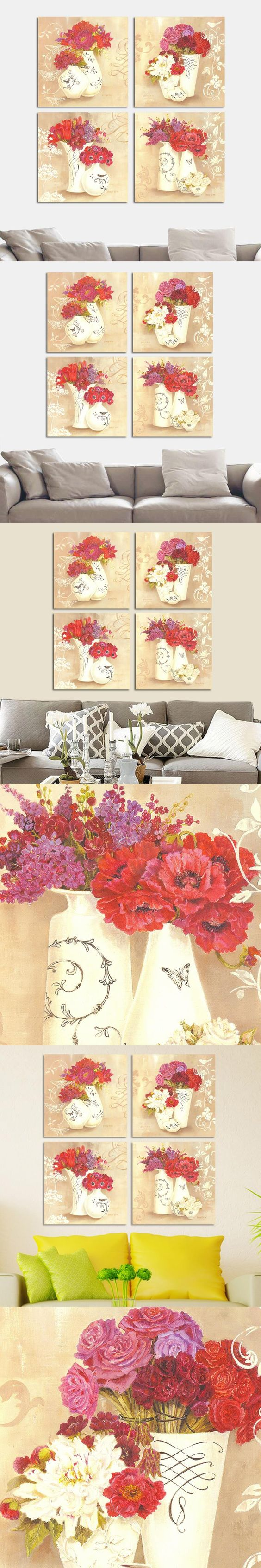4PCS Elegant Colorful Flower Wall Painting Home Decoration Modern Charming Flower Canvas Painting Bedroom Atelier Art Picture $1