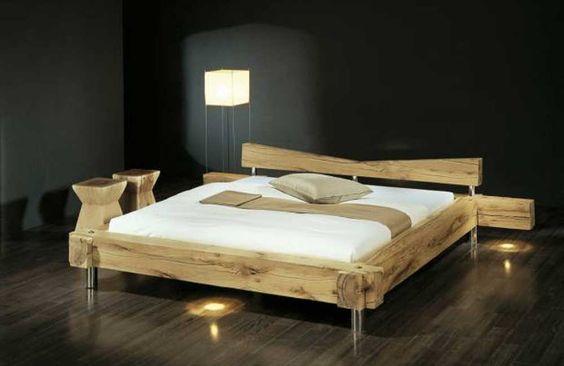 Bettgestell 180x200  Abbildung: Balken-Bett gezinkt, Größe 180x200 cm in Holzvariante ...