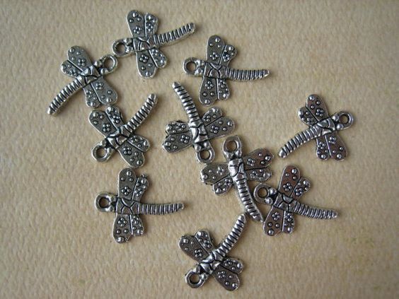 10PCS  Dragonfly Charms  Antique Silver  15x14mm  by ZARDENIA, $2.20