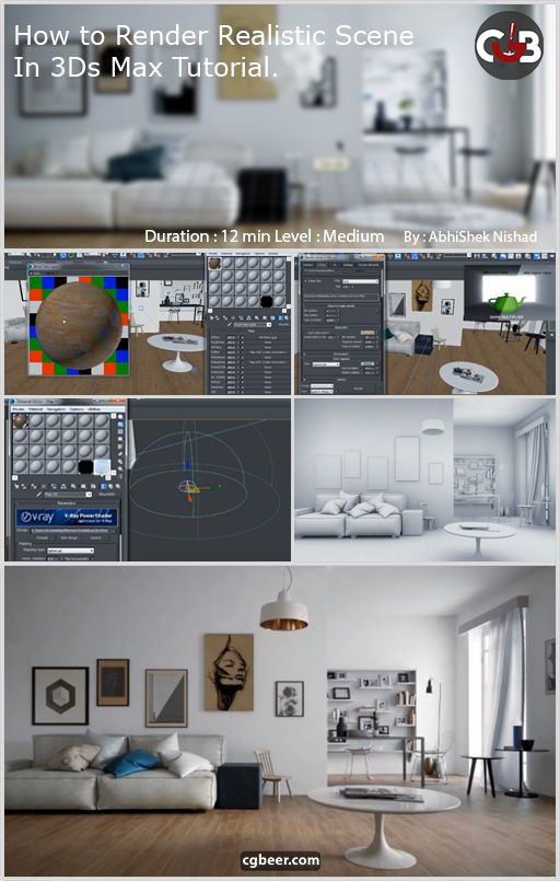 3ds Max Tutorial How To Render Realistic Scene With Images