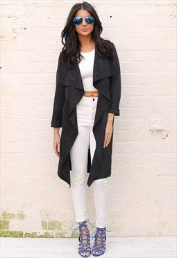 Suede Look Waterfall Drape Throw On Coat in Black