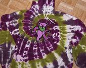 tie dye sweatshirt 2xl xxl with a grateful dead dancing bear patch on it. one of a kind