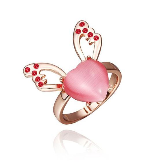 Rose Plated Coral Gem Butterfly Ring Size, Women's
