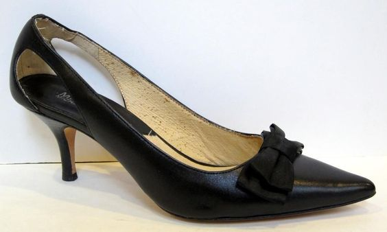 MICHAEL Michael Kors Black Leather Bow Pump Size 7M #MichaelKors #PumpsClassics