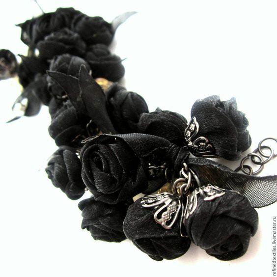 Купить Браслет из черных роз и кальцита.Черный браслет. Браслет с цветами. - черный, черный браслет