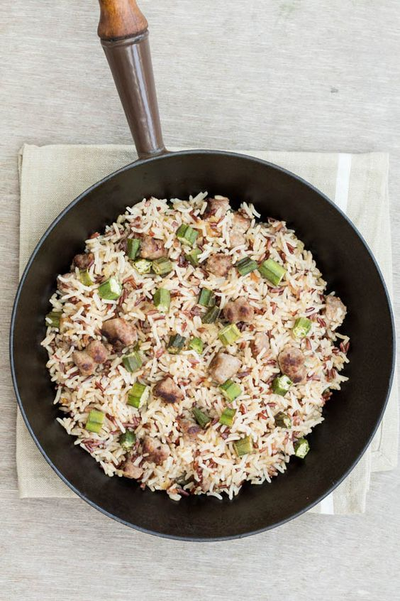 Sausage okra Fried Rice | Recipes From A Pantry