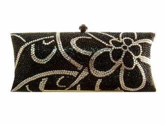 Merle - SPECTACULAR elegant swarovski crystal black clutch purse