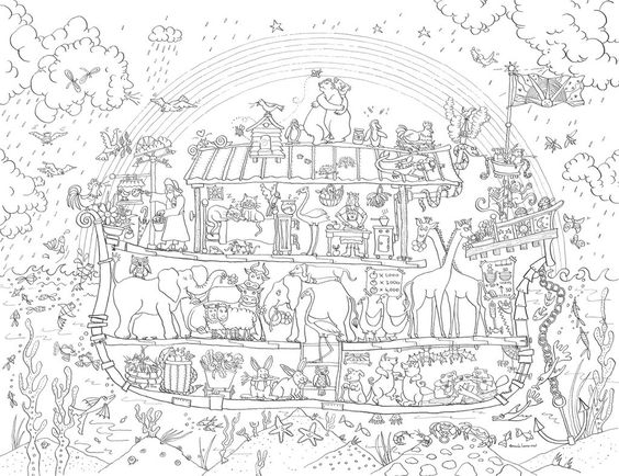 Giant posters coloring and noah ark on pinterest for Ark coloring page